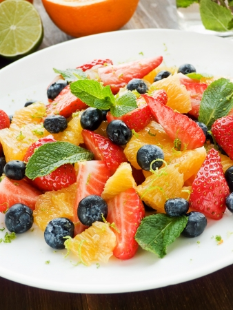 berry fruit: Fresh salad with different kinds of fruits and berries