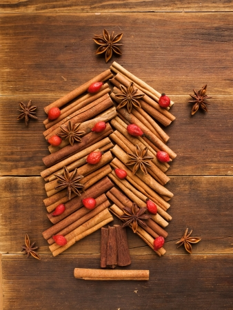 christmas scent: Christmas tree made of cinnamon and anise  Viewed from above  Stock Photo