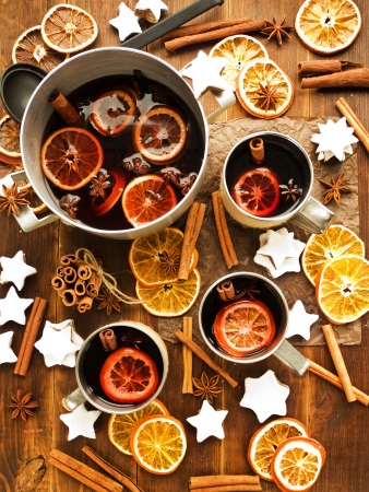 christmas drink: Traditional mulled wine with spices and fruits  Viewed from above