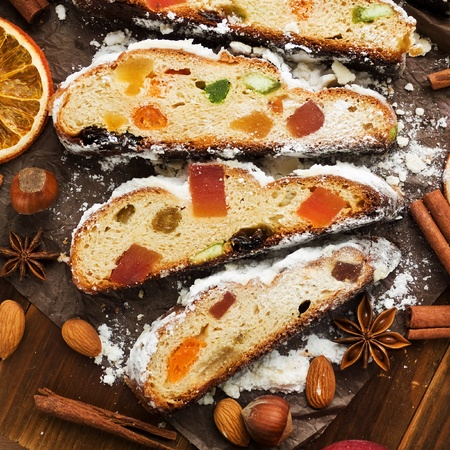 Traditional homemade stollen with dried fruits and nuts. Viewed from above. photo