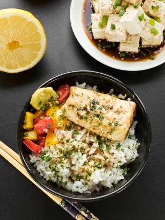 Bowls with jasmine rice, sturgeon and vegetables. Stock Photo - 20331849
