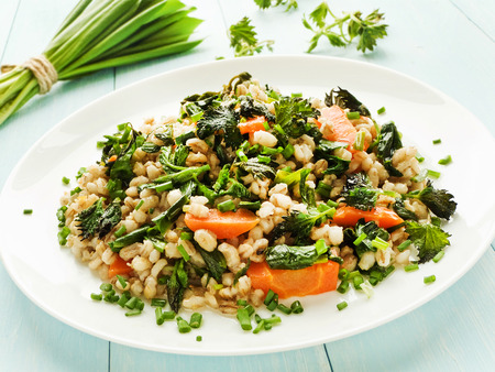 pearl barley: Boiled pearl barley with nettle, carrot and leek. Shallow dof. Stock Photo