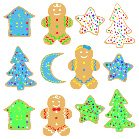 closeup: Set of decorated Christmas gingerbread cookies on white background. Illustration