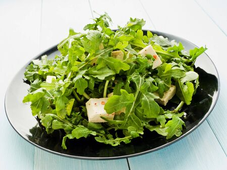 Plate with rucola salad and tofu cheese. Shallow dof.