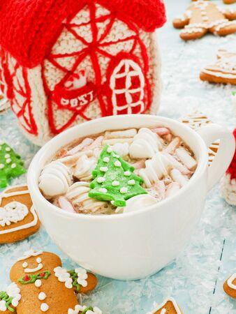 Hot sweet cocoa with marshmallows. Shallow dof. Stock Photo