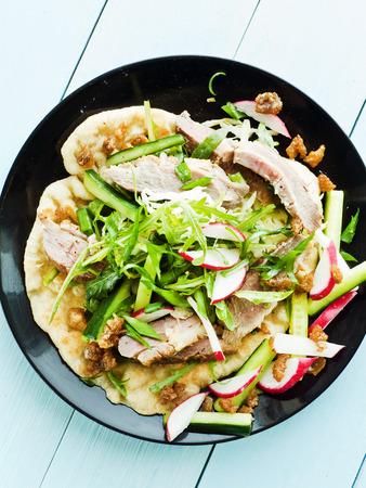 finocchio: Pitas con filetto d'anatra, erbe e salsa. Shallow dof. Archivio Fotografico