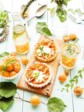 Apricot galette pie with sweet apricot compote. Shallow dof.