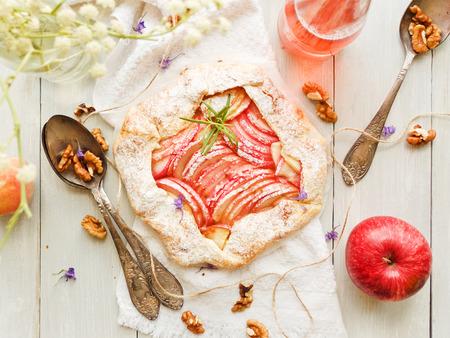 Apple galette with custard cream. Shallow dof.