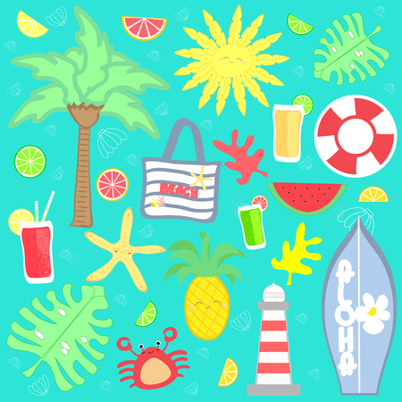 Cute summer vacation set vector illustration background