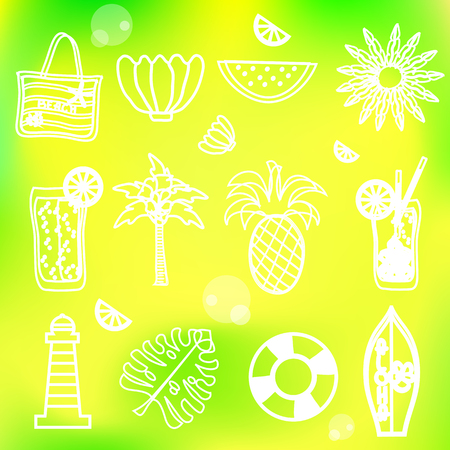 Line icons summer vacation set. Vector illustration