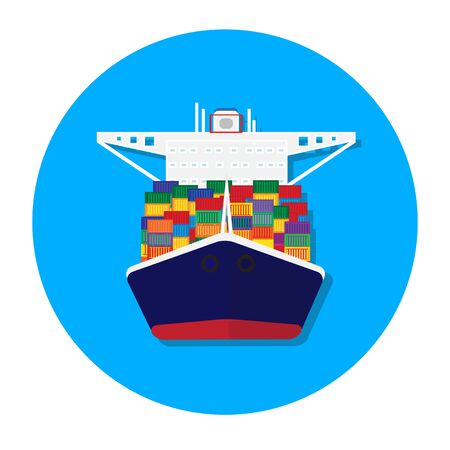 Cargo container transporting ship trailer vector illustration