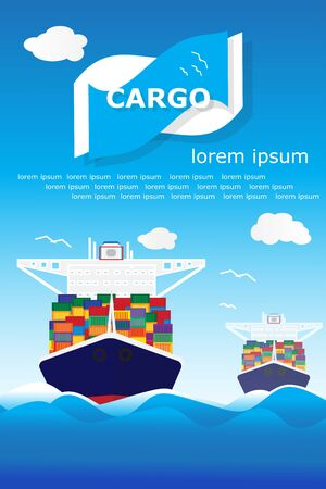 Cargo container transporting ship trailer illustration poster Stock Illustration - 128318933
