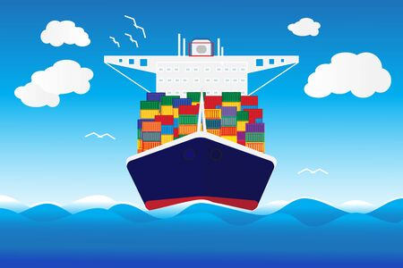 Cargo container transporting ship trailer illustration