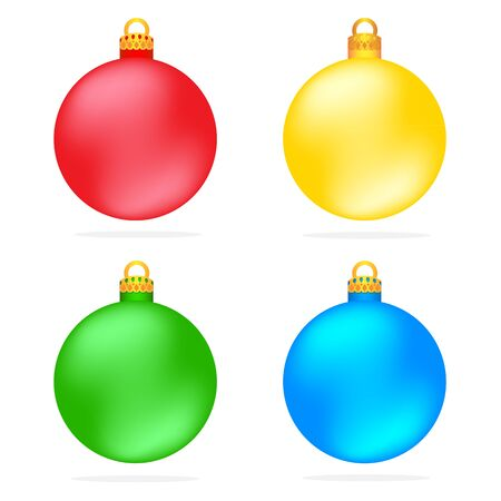 Set of Christmas colorful balls vector illustration ornaments