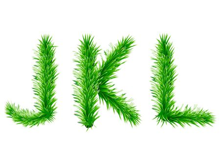 Set of fir tree letters christmas alphabet vector illustration layout