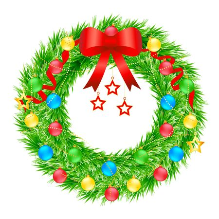 Christmas wreath vector illustration background ornaments decoration Ilustracja