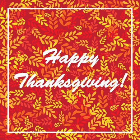 Happy thanksgiving colorful leaves card background vector illustration