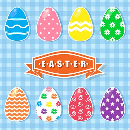 Easter colorful eggs set vector illustration background Illusztráció