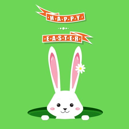 Easter bunny in a hole vector illustration background