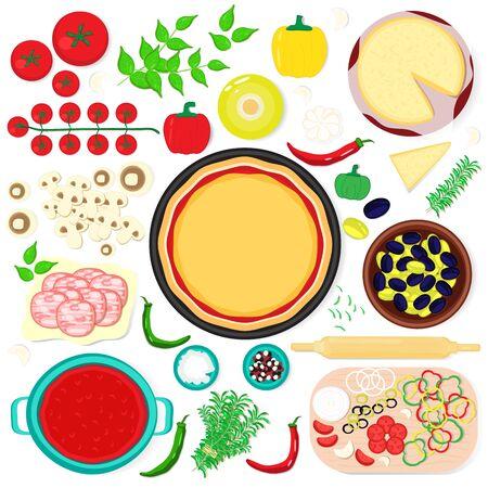 Set per fare la pizza con ingredienti base. Vista dall'alto. Fondo dell'illustrazione di vettore.