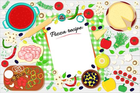 Pizza recipe list on the table with food ingredients. Vector illustration background.