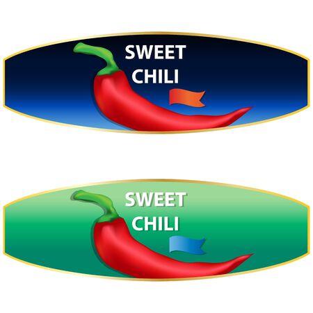 Sweet Chili Pepper sauce label design. Vector illustration.