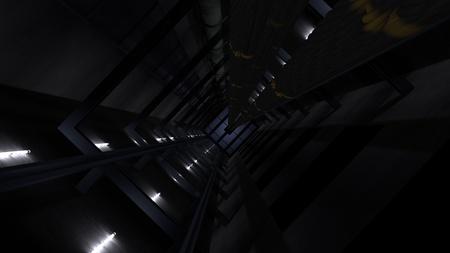 View in a deep elevator shaft (3d rendering)