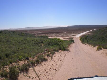 australian outback: Gravel road in the australian outback, point of view