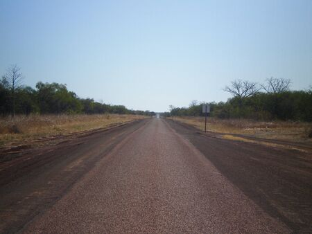 australian outback: Road in the australian outback, point of view
