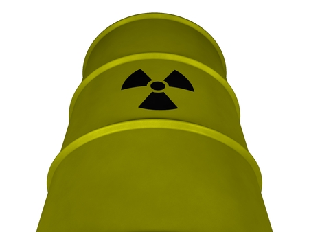 uranium: Barrel with radioactive waste on a white background (3d rendering)