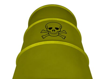 desechos toxicos: Barrel with toxic waste on a white background (3d rendering)
