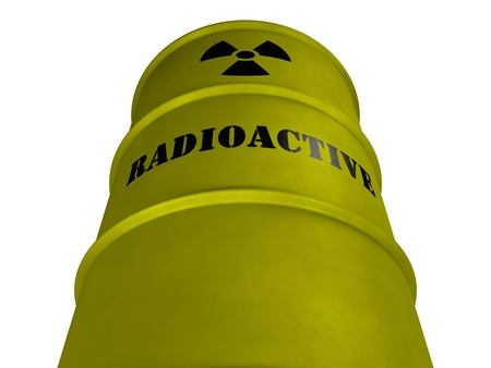 Barrel with radioactive waste on a white background (3d rendering)
