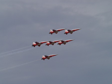 The Patrouille Suisse (aerobatic squadron) in action during the 75th Anniversary of the Swiss Anti-Aircraft Defense Force at Duebendorf, Switzerland, on June 25th 2011