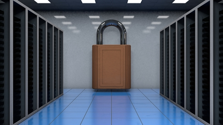 Server Room with Server and a Security Lock on the Wall, symbolizing servers, cloud computing, data storage, email and many other things in modern computer technologies.