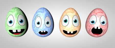 4 Colored Easter Eggs with Faces (3D Rendering)