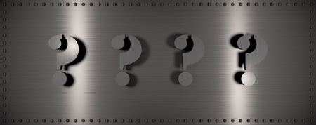 Brushed steel plate with rivets around it and 4 question marks, useful for many applications