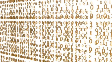 Orange Binary Codes on a white Background (3d Rendering)