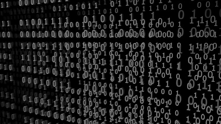 Gray Binary Codes on a black Background (3d Rendering)