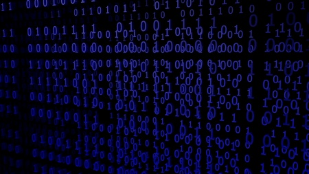 Blue Binary Codes on a black Background (3d Rendering) Stok Fotoğraf