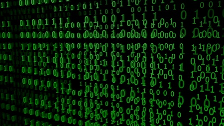 Green Binary Codes on a black Background (3d Rendering)