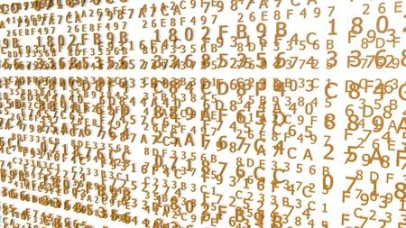 Orange Hexadecimal Codes on a white Background ( 3d Rendering)