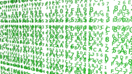 Green Hexadecimal Codes on a white Background ( 3d Rendering)