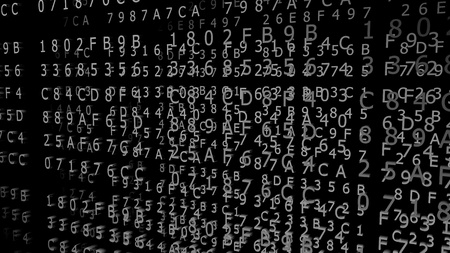 Gray Hexadecimal Codes on a black Background ( 3d Rendering)