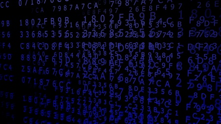 Blue Hexadecimal Codes on a black Background ( 3d Rendering)