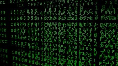 Green Hexadecimal Codes on a black Background ( 3d Rendering)