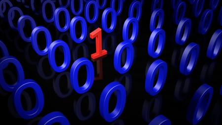 Single Binary Number One in many Zero's on a black Background