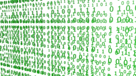 Green Binary Codes on a white Background (3d Rendering) Stok Fotoğraf