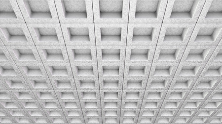Architectural Design of a Ceiling, View from the Bottom with Angle