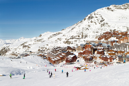 val: View of the Val Thorens ski resort of Three Valleys , France. Mountains covered with snow