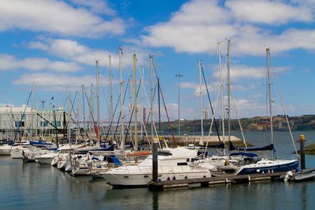 region of algarve: yachts mooring in a harbour,  Algarve region, Portugal